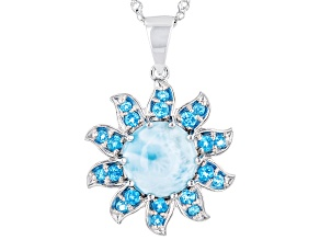 Blue Larimar Silver Pendant With Chain .51ctw