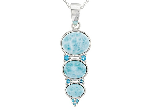 Blue Larimar Silver Pendant With Chain .13ctw