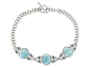 Blue Larimar Sterling Silver Bracelet .32ctw