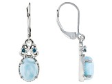 Blue Larimar Sterling Silver Earrings .11ctw