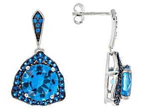 Blue Spinel Sterling Silver Dangle Earrings 9.61ctw