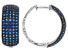 Blue Lab Created Spinel Sterling Silver Hoop Earrings 2.91ctw
