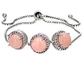 Pink Peruvian Opal Sterling Silver Bolo Bracelet .36ctw