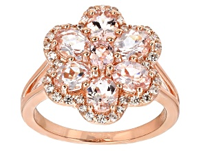 Peach Morganite 18k Rose Gold Over Silver Ring 2.26ctw