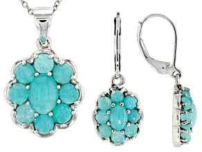 Blue Amazonite Sterling Silver Pendant And Earrings Set