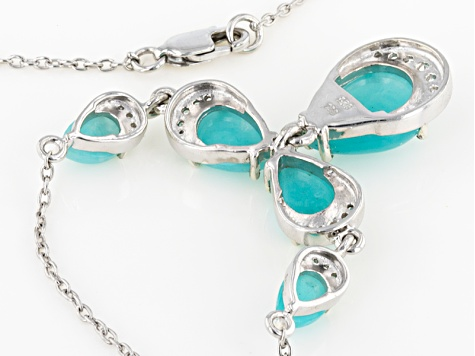 Blue Amazonite Sterling Silver Necklace .32ctw
