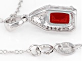 Red Labradorite Sterling Silver Pendant With Chain .90ctw