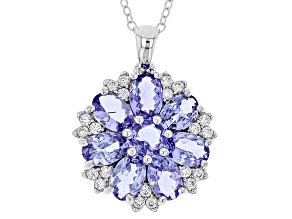 Blue Tanzanite Sterling Silver Pendant With Chain 3.42ctw