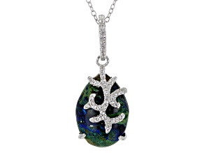 Multicolor Azurmalachite Sterling Silver Pendant With Chain