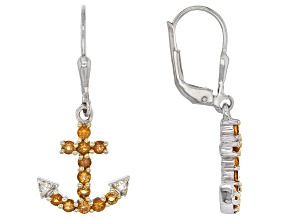 Yellow Citrine Sterling Silver Anchor Earrings .80ctw