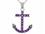Purple Amethyst Sterling Silver Pendant With Chain .56ctw