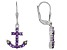 Purple Amethyst Sterling Silver Anchor Earrings .78ctw