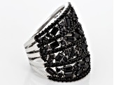 Black Spinel Sterling Silver Band Ring 1.33ctw