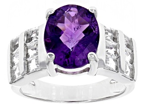 Purple Amethyst Sterling Silver Ring 4.08ctw