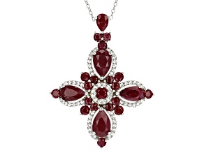 Red indian Ruby Sterling Silver Pendant With Chain 10.21ctw