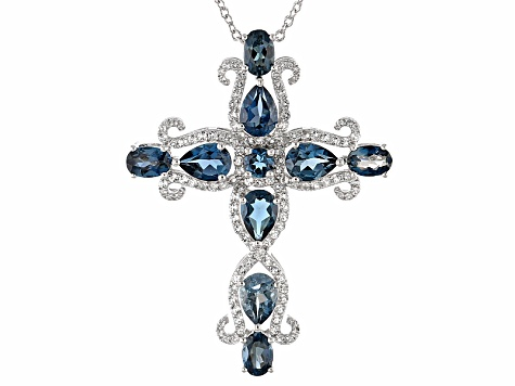 London Blue Topaz Sterling Silver Cross Slide With Chain 7.62ctw