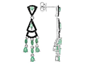 Green Sakota Emerald Sterling Silver Earrings 2.15ctw
