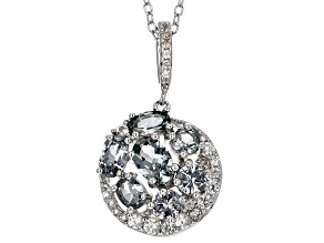 Platinum Color Spinel Sterling Silver Pendant With Chain 1.89ctw