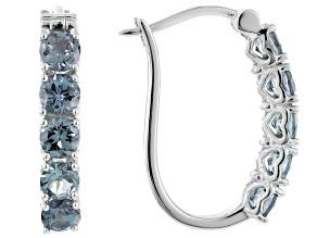 Platinum Color Spinel Sterling Silver Hoop Earrings 2.38ctw