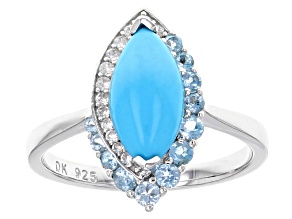 Blue Turquoise Silver Ring .41ctw