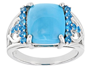 Blue Sleeping Beauty Turquoise Sterling Silver Ring .36ctw