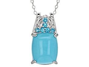 Blue Sleeping Beauty Turquoise Sterling Silver Slide With Chain .16ctw