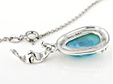 Blue Larimar Sterling Silver Enhancer With Chain