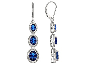 Blue Lab Created Spinel Sterling Silver Earrings 5.96ctw