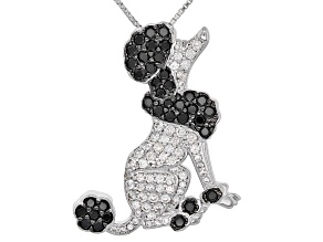Black Spinel Sterling Silver Poodle Brooch/Slide With Chain  1.95ctw