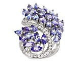 Blue Tanzanite Sterling Silver Ring 6.18ctw