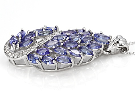 Blue Tanzanite Silver Pendant With Adjustable Chain 6.17ctw