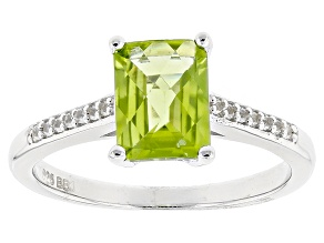 Green Peridot Sterling Silver Ring 1.16ctw