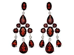 Red Garnet Silver Earrings 5.40ctw
