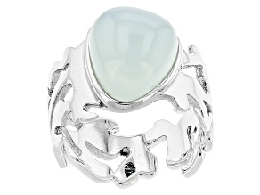Blue Aqua Color Chalcedony Sterling Silver Ring