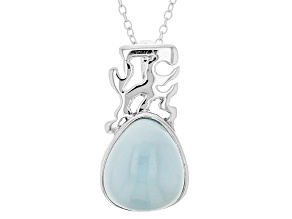 Blue Aqua Color Chalcedony Sterling Silver Slide With Chain