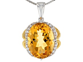 Yellow Citrine 18k Gold Over Silver Two-Tone Pendant With Chain 9.73ctw