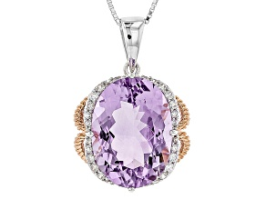 Lavender Amethyst 18k Rose Gold Over Silver Two-Tone Pendant With Chain 9.73ctw