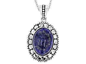 Blue Lapis Sterling Silver Pendant With Chain
