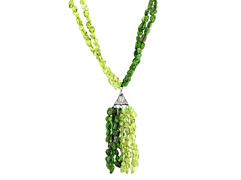 Green Peridot Silver Necklace