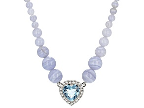 Sky Blue Topaz Silver Necklace 12.60ctw