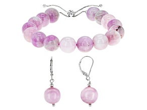Pink Kunzite Bead Silver Bolo Bracelet And Earrings Set