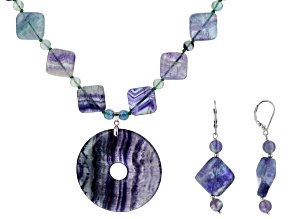 Multicolor Fluorite Silver Necklace And Earrings Set