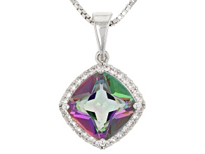 Multicolor Mystic Topaz® Silver Pendant With Chain 3.24ctw