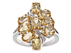 Yellow Beryl Sterling Silver Ring 3.06ctw