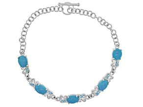 Blue Turquoise Sterling Silver Bracelet .12ctw