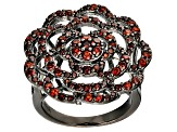 Red Garnet Black Tone Sterling Silver Ring 1.92ctw