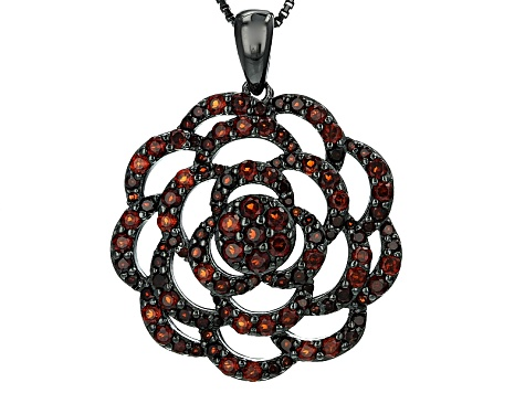 Red Garnet Black Tone Silver Pendant With Chain 1.92ct