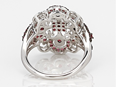 Raspberry Color Rhodolite Sterling Silver Ring 1.33ctw