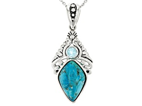 Blue Turquoise Sterling Silver Pendant With Chain .25ct