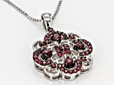 Raspberry Color Rhodolite Silver Pendant With Chain .81ctw.